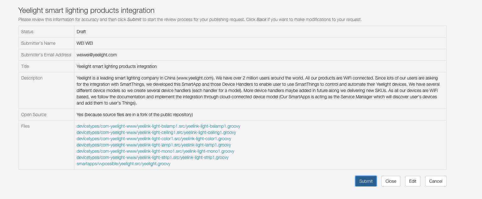 Smartthings support - Yeelight LED Bulb (Color) - Yeelight Forum
