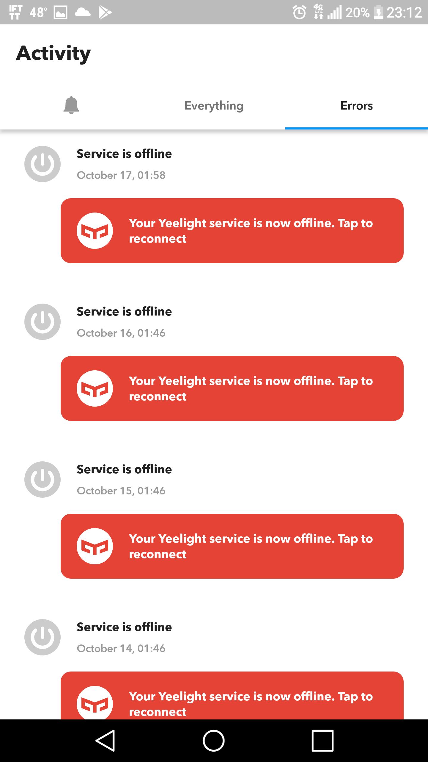 Yeelight IFTTT Service disconnect every day - YEELIGHT LED