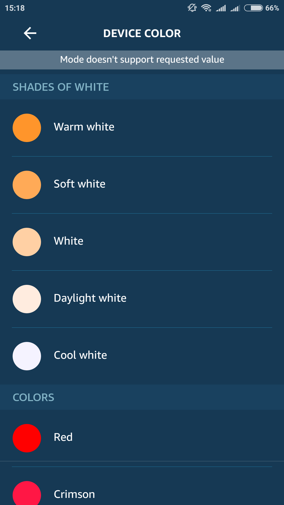 White shades not selectable with Alexa since firmware update